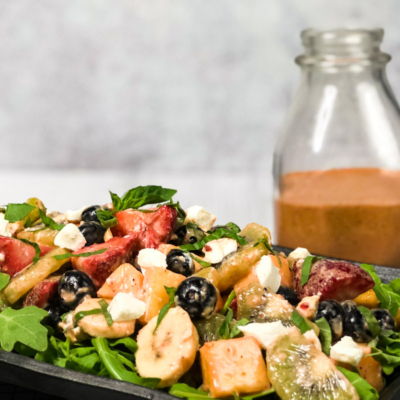 Tropical Fruit Salad with Strawberry Basil Vinaigrette