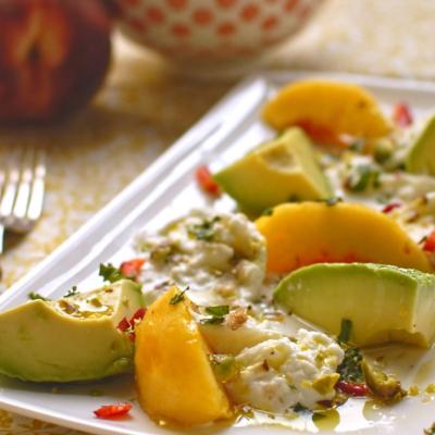 Peach, Smoked Avocado and Mozzarella Salad