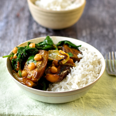 Spiced Aubergine with Chickpeas and Wilted Spinach