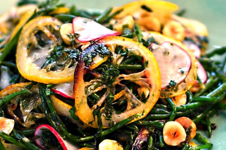 Samphire, Hazelnut and Roast Lemon Salad