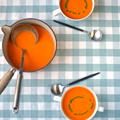 Slow Roast Tomato Soup with Basil Oil