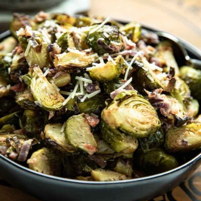 Roasted Brussels Sprouts in Parmesan Sauce