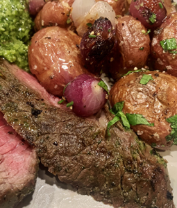 Grilled Wagyu Sirloin Tip Steak with Chimichurri and Potatoes