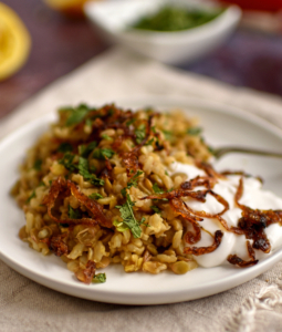Lebanese-Style Rice and Lentils with Crispy Onions