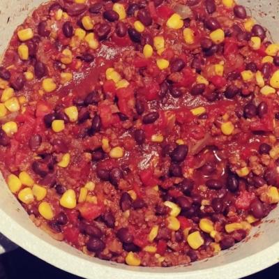 Meatless Bean Corn Tomato Chili