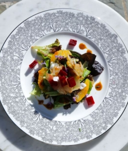 Braised Endive Salad with Supreme Oranges and Roasted Beets