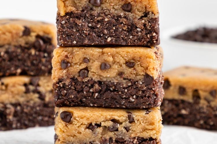 No Bake Cookie Dough Brownies (Vegan & Gluten-Free)