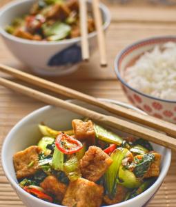 Vietnamese Style Tofu with Pak Choi and Basil