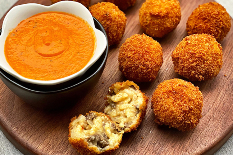 Arancini with Wagyu Beef Sweet Italian Sausage and Cheese