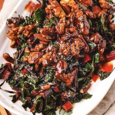 Sauteed Swiss Chard Chickpea Miso Butter