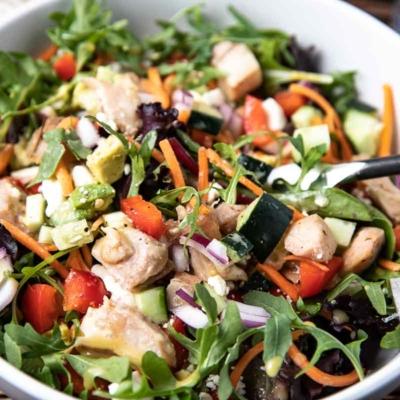 Healthy Spa Chicken Salad with Honey Mustard Dressing