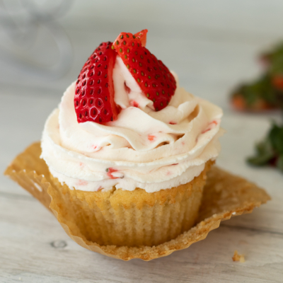 Strawberry Filled Cupcakes with Strawberry Whipped Cream Frosting