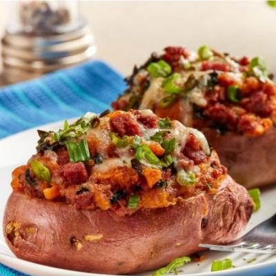 Corned Beef Stuffed Sweet Potatoes
