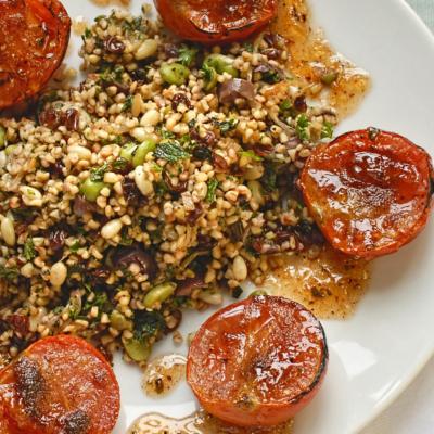 Broad Bean Pilaf with Slow Roasted Cinnamon Tomatoes and Lemon Zhug