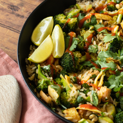 Thai Curry Fried Rice with Broccoli & Mushrooms