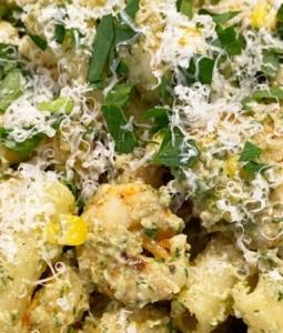 Arugula Pesto, Corn, and Shrimp Pasta