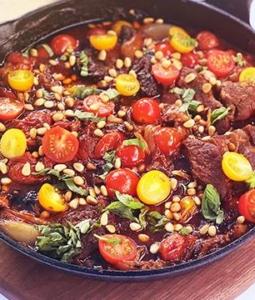 Braised Wagyu Beef, Shallot, Tomato, and Basil Skillet