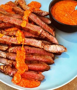 Grilled Wagyu Sirloin Tip Steak with Peri Peri Sauce