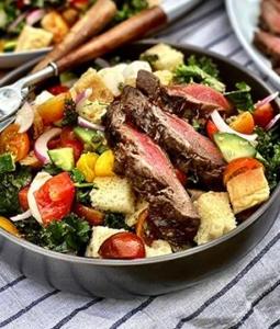 Grilled Wagyu Steak Panzanella Salad with Vinaigrette