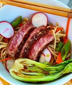 Ginger-Sesame Soba Noodle Salad with Seared Wagyu Steak