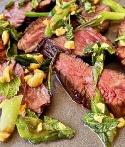 Seared Wagyu Hanger Steak with Charred Scallion Salsa
