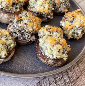 Wagyu Beef Italian Sausage Stuffed Mushrooms