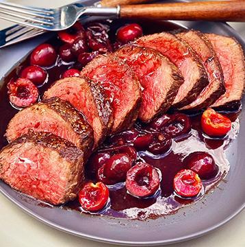 Wagyu Filet Mignon with Fresh Cherry-Shallot Pan Sauce