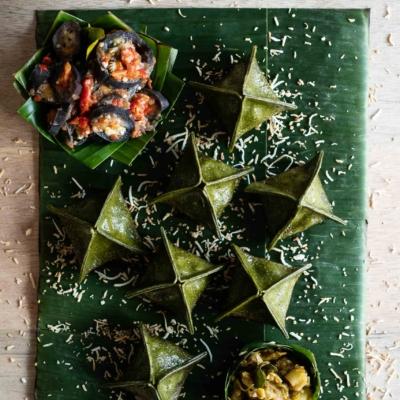 Cassava Leaf and Rendang Fagottini Potstickers with Terong Balado and Sambal Ijo