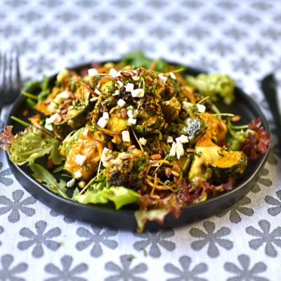 Roast Broccoli and Courgette with Feta and Preserved Lemon